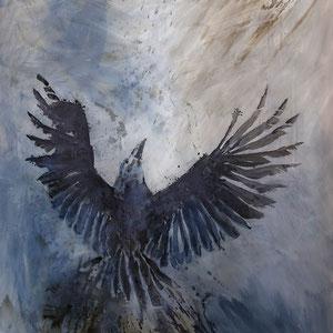 raising raven | 130 x 110 cm | Tusche und Graphit auf Polyesterfolie 2fach | 2019