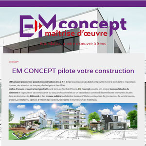 Site web EM Concept, maître d'oeuvre à Sens