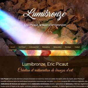 Site web de Lumibronze, Eric Picaut artisan bronze d'art dans l'Yonne
