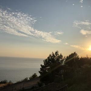 Blick auf den Sonnenuntergang vom Avalon