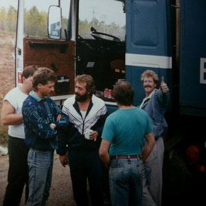 ein kleiner Plausch unterwegs - Rainer, Giovanni, Wolfgang, Klaus