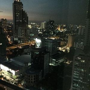 Blick aus unserem Zimmer bei Nacht