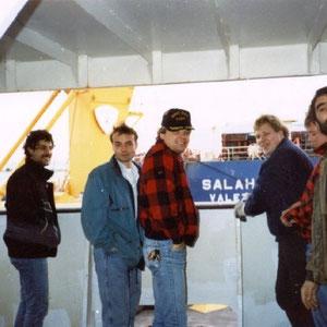 Karl Erwin Höckh, Hans Lange, Micha Mehles, Berti, auf der anderen Seite die Salah L