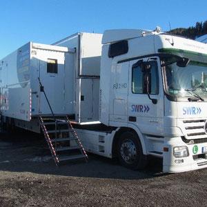 der fertig aufgebaute Ü-Wagen auf dem TV-Compound in Vikersund