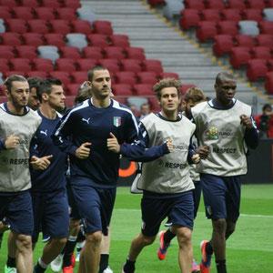 Abschlusstraining vor dem Spiel gegen Italien - die Italienische Nationalmannschaft