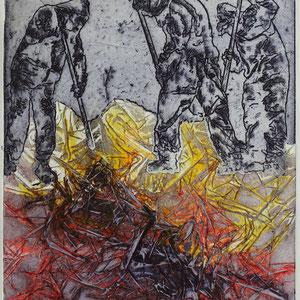 """""""DunkelZeit2"""", Radierung, Prägedruck, 33 x 25 cm"""