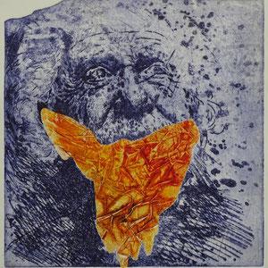 """""""alter Mann - offensichtlich mit Schwierigkeiten beim Anlegen der Corona - Schutzmaske"""", Radierung, Aquatinta, Prägung, ca. 24,5 x 23,5 cm"""