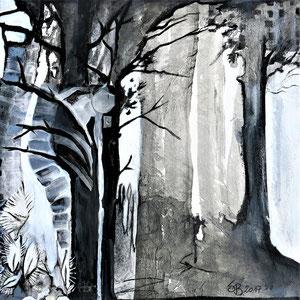 SCHMERZWALD      Acryl, Papier und Teilstück einer Röntgenbildaufnahme auf Leinwand  40 x 40