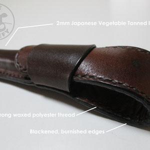 veg tan hand stitched pen pouch