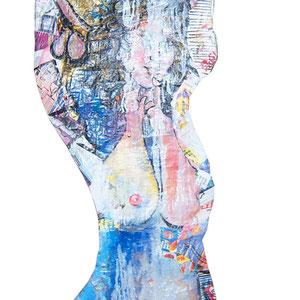 Maria und Maria Magdalena (Ausschnitt), Lack Acryl auf Pappmaché je 40 x 150 cm