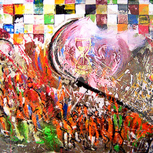 Apokalyptische Reiterin,  Lack,  Acryl auf Holz  85 x 135 cm