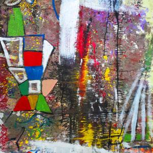 Abstrakt, Lack, Acryl, Pigmente auf Leinen, 140 x 200 cm