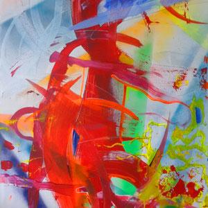 Abstrakt, Lack, Acryl, Marker auf Leinen, 100 x 150 cm