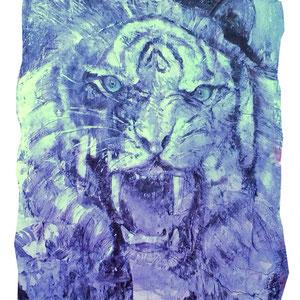 Tiger, Lack auf Pappmaché 120 x 150 cm