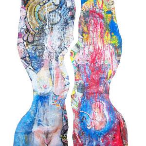 Maria und Maria Magdalena, Lack Acryl auf Pappmaché je 40 x 150 cm