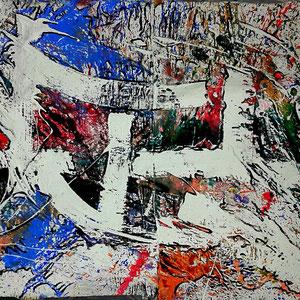 Abstrakt, Lack, Acryl, Marker auf Leinen, ca. 300 x 200cm