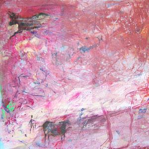 Man came this way (Ausschnitt), Lack, Acryl, Öl auf Kunststoffplatte, ca 250 x 100 cm