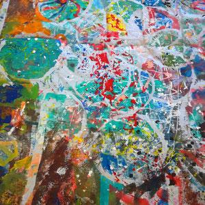 Abstrakt, Lack, Acryl, Pigmente auf Leinen 200 x 300 cm