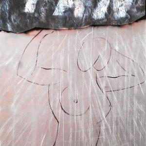 Peta Pan Syndrom, Lack und Marker auf Nerz auf Kunststoff 45 x 111 cm