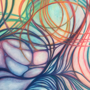"""""""Fluides - Colors"""" —""""As it comes / comme ça vient """" - Pastels gras - 100 x 100 cm —  © Franck Chastanier 2020- détail"""