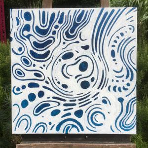 """""""Blue brut 1"""" —""""As it comes / comme ça vient """" - Acrylique bleue puis pastel gras blanc - 60 x 60 cm —  © Franck Chastanier 2020"""