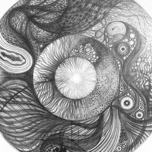 Totem circulaire n3 © F'Chasta - 2019 - Tous droits réservés - mine de plomb - 100x100 cm- Prix : 2400 Euros