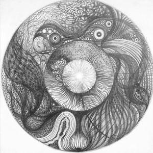 Totem circulaire n3 © F'Chasta - 2019 - Tous droits réservés - mine de plomb - 100x100 cm