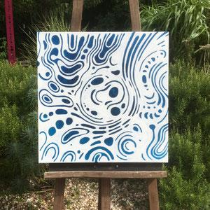 """""""Blue brut 1"""" —""""As it comes / comme ça vient """" - Acrylique bleue puis pastel gras blanc - 60 x 60 cm —  © Franck Chastanier 2020 - Prix : 700 Euros"""