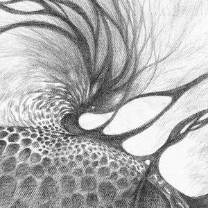 « Ce qui vient comme ça vient / What comes as it comes » - Crayon papier sur toile - 80 x 80 cm — 2019 - détail