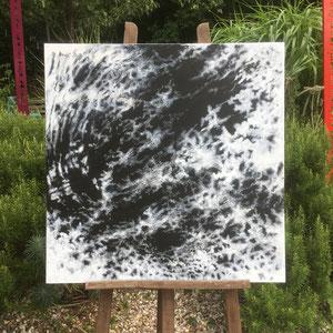 """""""Orage magnétique"""" — """"As it comes / comme ça vient """" - Acrylique noire puis pastel gras blanc - 80 x 80 cm —  © Franck Chastanier 2020"""
