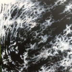 """""""Orage magnétique"""" — """"As it comes / comme ça vient """" - Acrylique noire puis pastel gras blanc - 80 x 80 cm — 2020 - détail"""