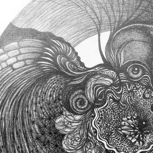 Totem circulaire n2 © F'Chasta - 2019 - Tous droits réservés - crayon papier 2b - 60x60 cm- Prix : 1800 Euros