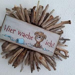 Foto einer Kundin: selbst gefertigte Treibholzsonne mit Hundeschild