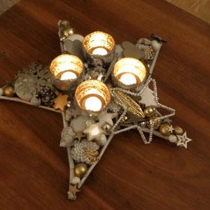 Großer 50 cm Tischstern in gold - weiß mit vier Sphärenlichtern für Teelichter - die stimmungsvolle Atmosphäre verbreiten.