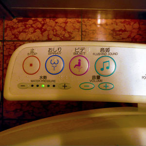 Japanese toilets come with a bar of buttons. Tokyo, Japan 2013 © Sabrina Iovino | JustOneWayTicket.com