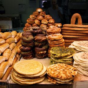 Baked goods at the Mahane Yehuda Market in Jerusalem, Israel © Sabrina Iovino   JustOneWayTicket.com