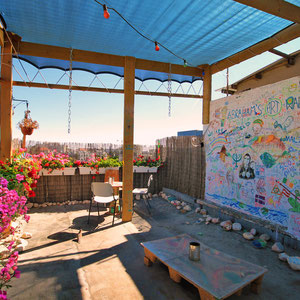 The rooftop at Abraham Hostel, perfect place to relax and get a tan... Jerusalem, Israel © Sabrina Iovino   JustOneWayTicket.com