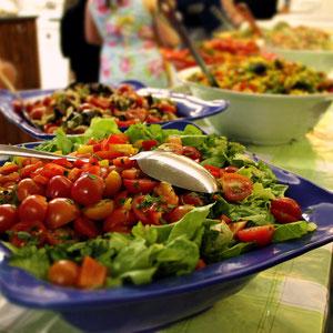 Countless delicious dishes at the Shabbat Dinner (every Friday) at Abraham Hostel in Jerusalem, Israel © Sabrina Iovino   JustOneWayTicket.com