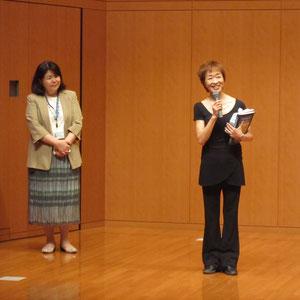 ご挨拶。左は声楽・オペラコースの島崎智子先生。