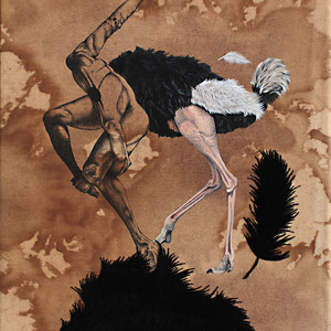 figurative ostrich / ink, acrylic, coffee and thread on canvas /  30cm x 40cm / 2018