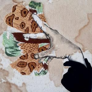 mutation / ink, coffee, thread on canvas / 20cm x 20cm / 2021