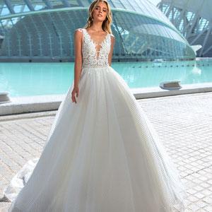 wunderschönes Prinzessinnen Brautkleid Spitze champagner ivory Glitzer nude Look Designer Brautmode myLovely tiefer Rücken Träger