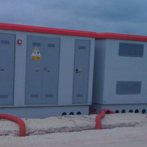 prefabricated inverter & transformer container, supplied by Power One, for 1 MW PV-section in Torre Santa Susanna