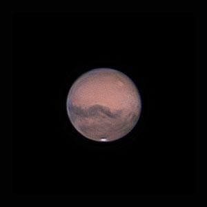 Mars le 11 octobre 2020. Télescope Schmid/Cassegrain 203/2000 mm, caméra ZWO 385MC, Barlow 2 X, CDA, filtre IR cut