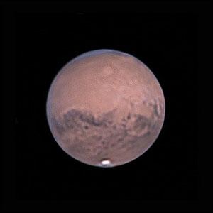 Mars le 19 octobre 2020. Télescope Schmid/Cassegrain 203/2000 mm, caméra ZWO 385MC, Barlow 3 X, CDA, filtre IR cut