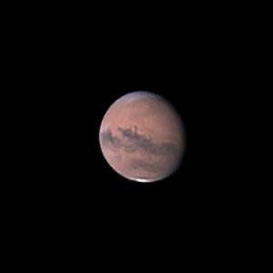 Mars le 05 septembre 2020. Télescope Maksutov/Cassegrain 180/2700 mm, caméra ZWO 385MC, Barlow 2 X, CDA, filtre IR cut