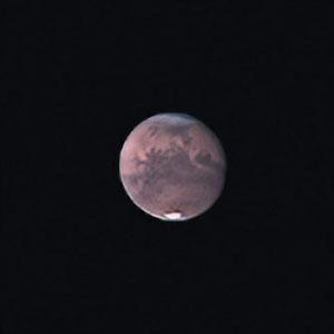 Mars le 20 septembre 2020. Télescope Maksutov/Cassegrain 180/2700 mm, caméra ZWO 385MC, Barlow 2 X, CDA, filtre IR cut