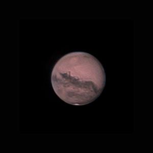 Mars le 09 octobre 2020. Télescope Schmid/Cassegrain 203/2000 mm, caméra ZWO 385MC, Barlow 2 X, CDA, filtre IR cut