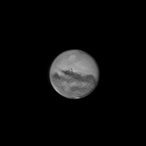 Mars le 09 octobre 2020. Télescope Schmid/Cassegrain 203/2000 mm, caméra ZWO 174MM, Barlow 2 X, CDA, filtre IR cut
