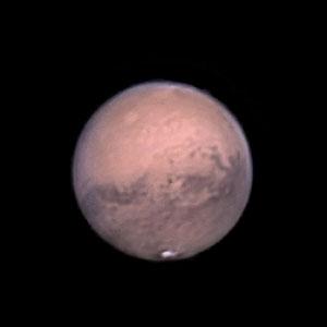 Mars le 17 octobre 2020. Télescope Schmid/Cassegrain 203/2000 mm, caméra ZWO 385MC, Barlow 3 X, CDA, filtre IR cut